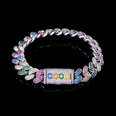APORRO X COOGI 12mm White Gold Beating Cuban Bracelet