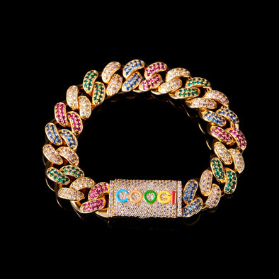 APORRO X COOGI 12mm 18K Gold Beating Cuban Bracelet