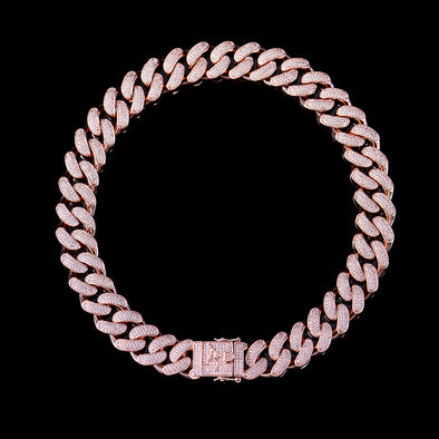 19mm Rose Gold Iced Cuban Link Chain