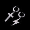 Lightning Bolt And Tennis Cross Earrings Set