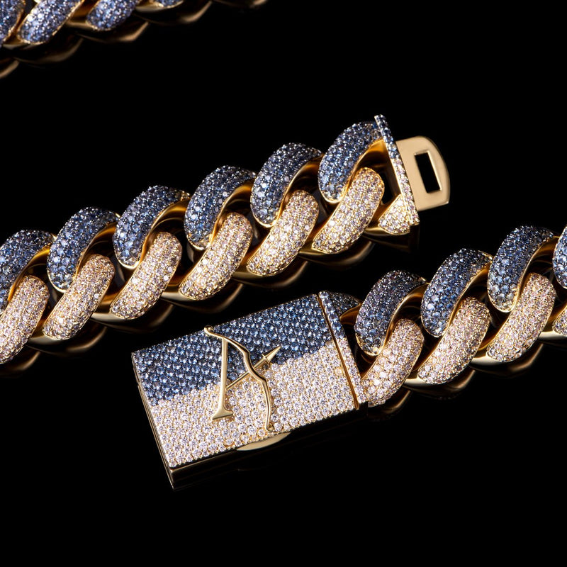 19mm Two Tone Cuban Link Chain