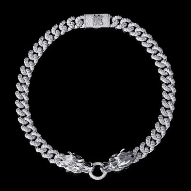 WONG - White Gold Iced Double Dragon Chain