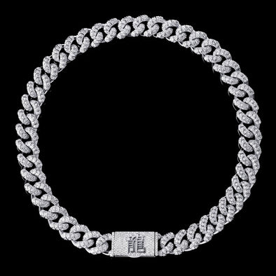 (Pre-Order) WONG - White Gold Iced Dragon Box Clasp Cuban Chain