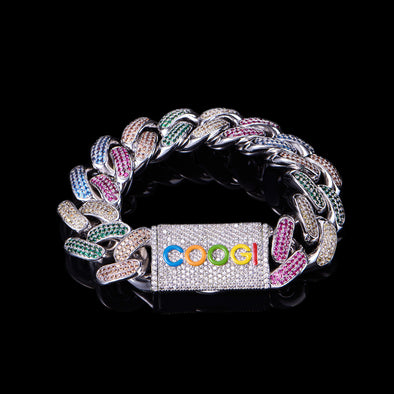 APORRO X COOGI 19mm White Gold Beating Cuban Bracelet