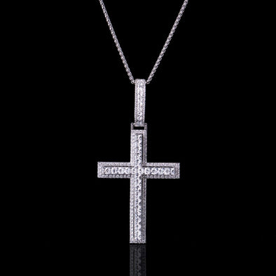 White Gold Iced Double Layered Big Cross Pendant