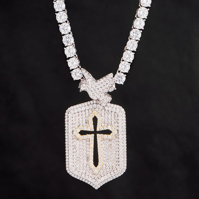Iced Two Tone Cross Dog Tag Pendant in 925 Sterling Silver