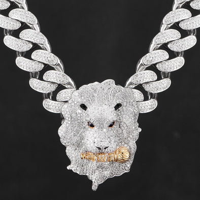 Iced Roaring Lion Pendant in 925 Sterling Silver