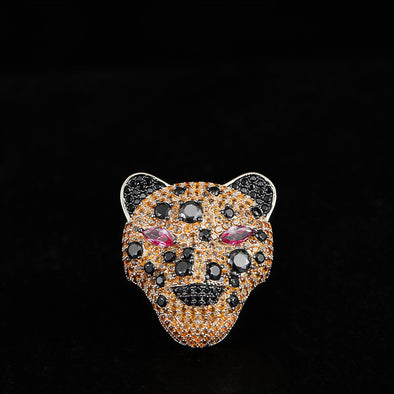 Iced Leopard Ring in 925 Sterling Silver