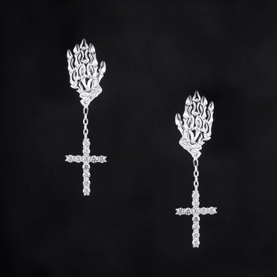 Cross Skeleton Hand Earrings in 925 Sterling Silver