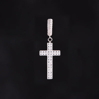 Cross Earrings in 925 Sterling Silver (with Two-Row Gems)