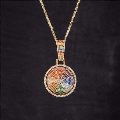 14k Gold Iced Spinning Rainbow Lemon Pendant