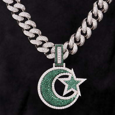 Iced Big Star and Crescent Pendant in 925 Sterling Silver(Green)