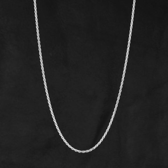 2.3mm Rope Chain in 925 Sterling Silver (White Gold)
