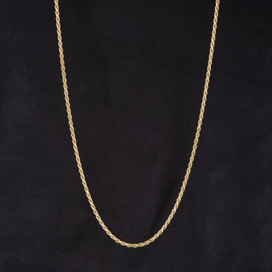 2.3mm Rope Chain in 925 Sterling Silver (Yellow Gold)