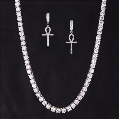 Cross Earrings And 5mm Tennis Chain Set