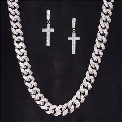 Cross Earrings and 12mm Iced Cuban Link Chain Set