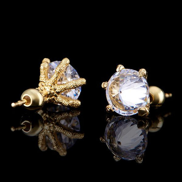 14K Gold Iced Dragon Claw Earrings