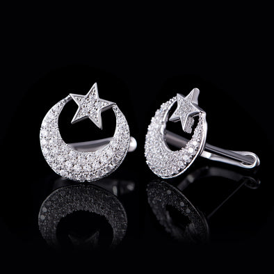 Iced Star and Crescent Earrings