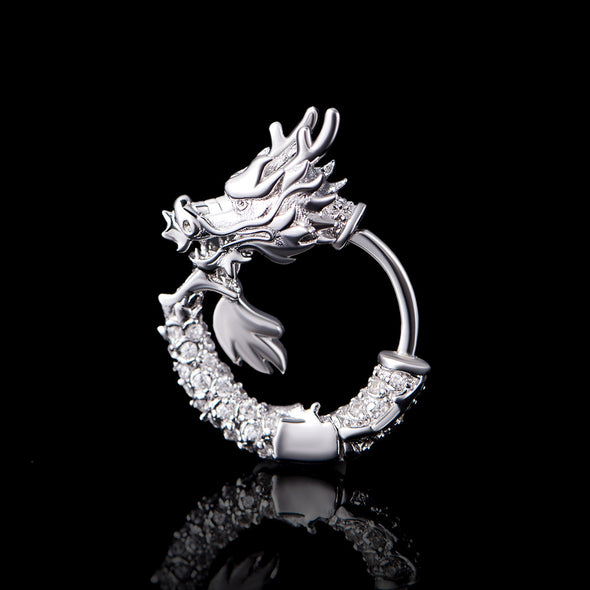 WONG Iced Infinite Dragon Hoop Earrings