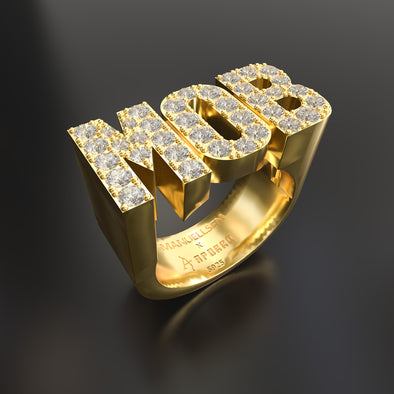 Manuellsen X Aporro 18 Karat Gold Iced MOB Ring in 925 Sterling Silber