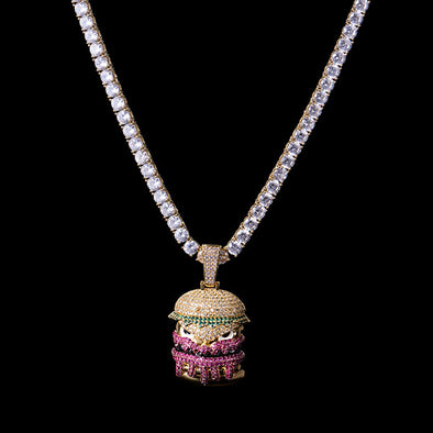 Pendentif Monstre Hamburger en Or 14K Iced