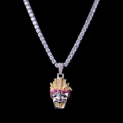 White Gold Iced Funny Fries Clown Pendant