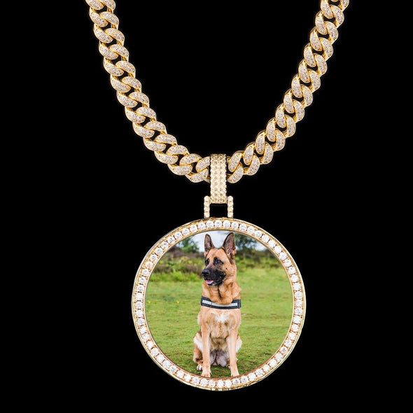 925 Sterling Silver 14K Gold Iced Custom Photo Pendant