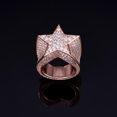 Rose Gold Iced Star Ring