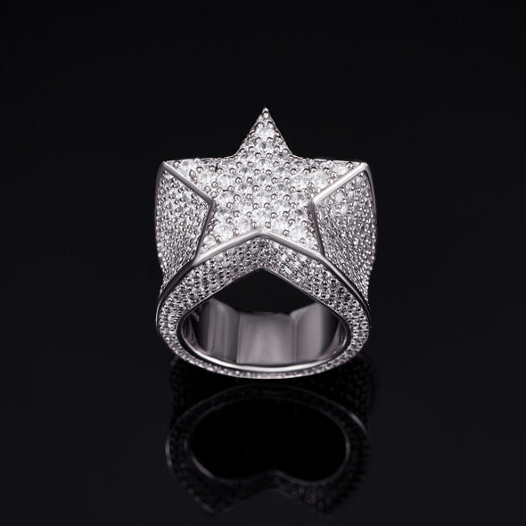 White Gold Iced Star Ring