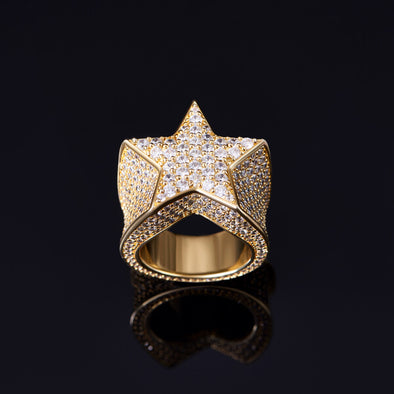 14K Gold Iced Stern Ring