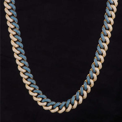 15mm Iced Two Tone Cuban Link Chain Light Blue-White
