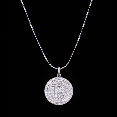 S925 Real Sterling Silver Fully Iced Bitcoin