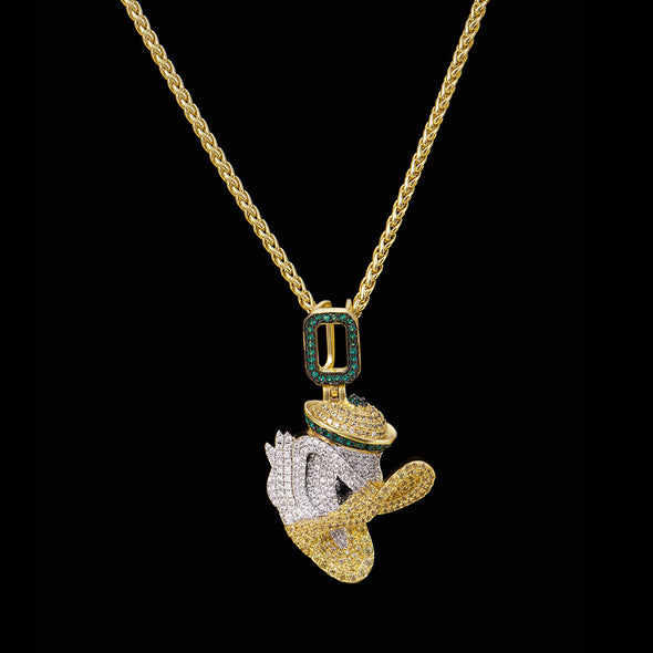 14K Gold Iced Small Duck Pendant