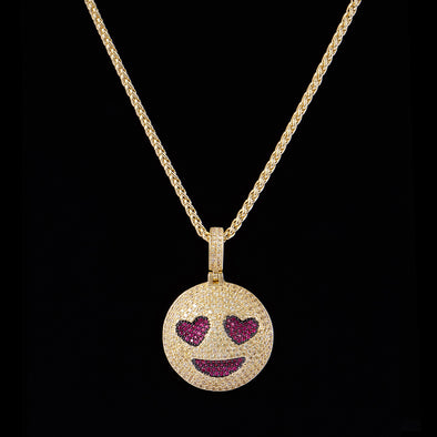 Emoji Grinning Face avec Heart Eyes en Or 14K Iced