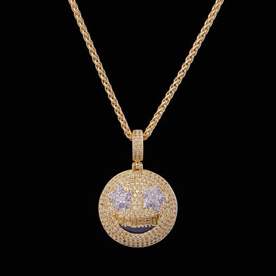 Emoji Grinning Face avec Star Eyes en Or 14k