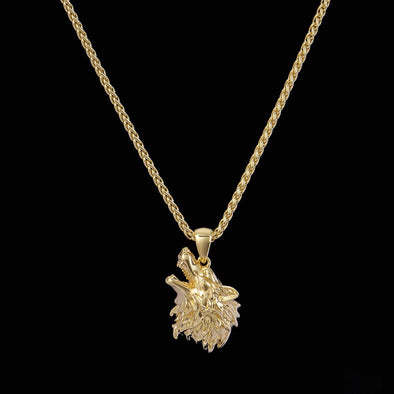 14K Gold Howling Wolf Pendant