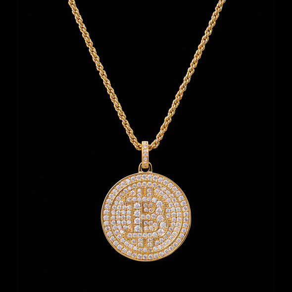 14K Gold Fully Iced Bitcoin