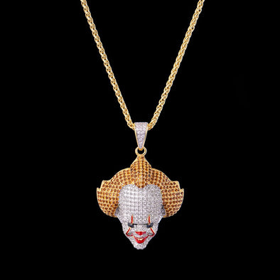 14K Gold Iced Clown Pendant