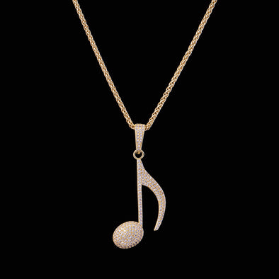 14K Gold Iced Note Necklace