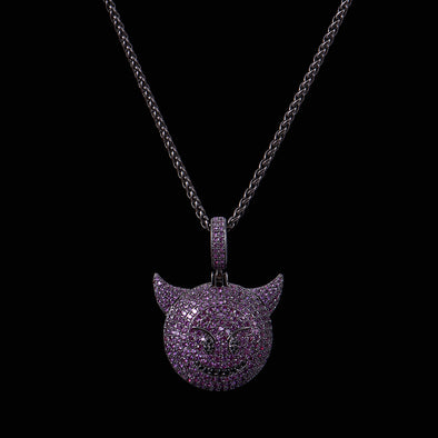 Purple Iced Devil Emoji Necklace