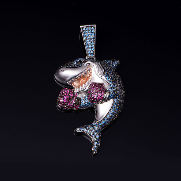 White Gold Iced Shark Boxing Necklace