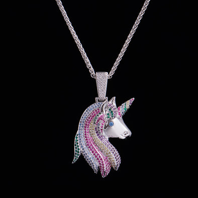 Iced Multi-color Lucky Unicorn Pendant