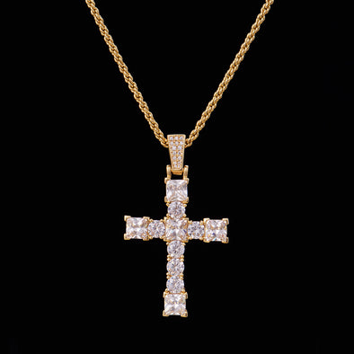14K Gold Iced Big Tennis Cross