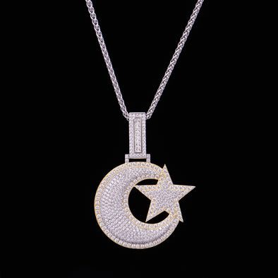 Iced Big Star and Crescent Pendant in 925 Sterling Silver