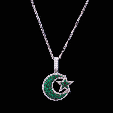 Iced Star and Crescent Pendant in 925 Sterling Silver(Green)