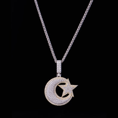 Iced Star and Crescent Pendant in 925 Sterling Silver