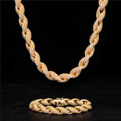 10mm Iced Rope Chain and Bracelet Set