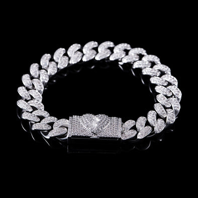 12mm Broken Heart Box Clasp Cuban Link Bracelet