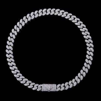 12mm Broken Heart Box Clasp Cuban Link Chain