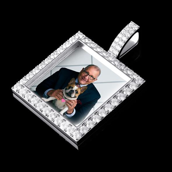 Iced Custom Square Photo Pendant